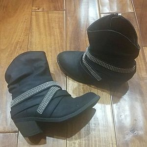 Stevies Bling Slouch Style Black Boots SZ 2